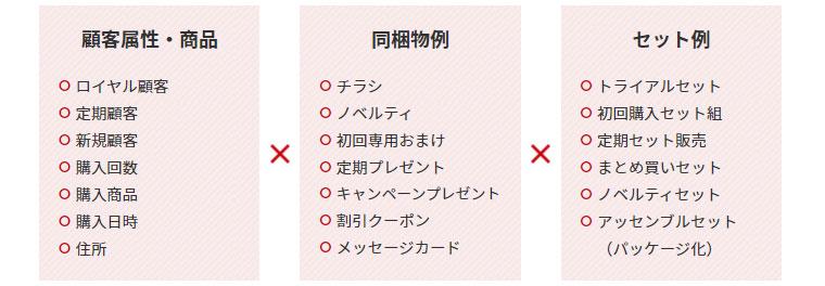 3つの条件を掛け合わせて複雑な同梱制御をするイメージ図(条件1は顧客属性と購入商品、条件2は同梱物、条件3はセット例)